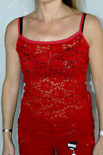 lujoso top rojo calado HIGH USE TECH talla 38 NUEVO CON ETIQUETA valor