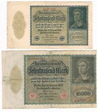 GERMANY - Ten Thousand Mark 1922, Vampire Note 2 Versions