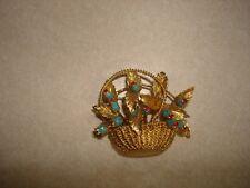 Vintage Nice 18k Gold Blue Enamel Ruby Flowers Basket Corletto Italy Pin Brooch