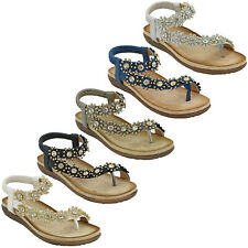 Cipriata Slingback Toe Post Womens Halter Elasticated Flower Flat Sandals UK 3-9