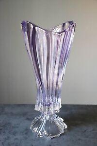 """Footed Vase 16"""" Crystal Amethyst Bud Vase Home Decor Bohemia Crystal Flower Vase"""