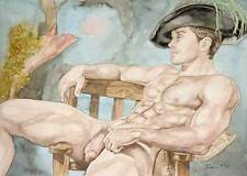 Oh boy, homme nu, watercolor print nude male with green feather gay interest