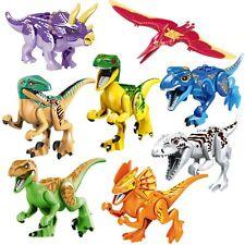 8pcs Set Dinosaurs Lot Toys Jurassic World Figure Bricks Gift T-Rex Velociraptor