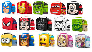 Kids Children Insulated 3D Lunch Bag Box And Drink Sport Water Bottle Set