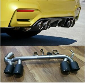 BMW F30 F31 3 SERIES CARBON QUAD EXHAUST TIPS TAIL PIPE M3 M4 BUMPER DIFFUSER