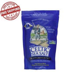 Light Grey Celtic Sea Salt 1 Pound Resalable Bag Additive-Free Spices Cooking