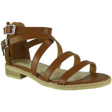 Womens Strappy Gladiator Sandals Ladies Summer Buckle Flats Low Heel Shoes Size