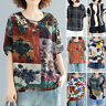 UK Women Short Sleeve O Neck Tee Shirt Floral Printed Casual Loose Tops Blouse