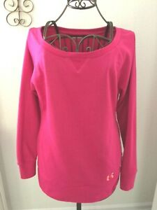 Under Armour Women's Large Top Pink Long Sleeve Pullover Activewear.