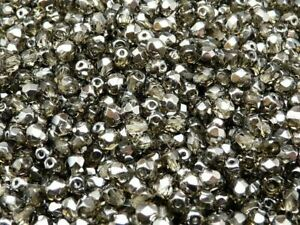 CHOOSE COLOR! 100pcs 4mm Round Faceted Fire-Polished Beads Czech Glass