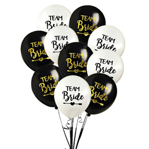 x10 Team Bride Black Gold Hen Party Balloons Latex Decoration Bride to Be UK