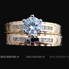 Real Solid Yellow Gold Engagement Wedding Christian Rings Set Simulated Diamonds
