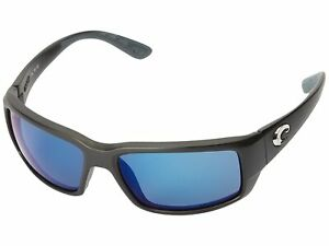 Costa Matte Black Frame Blue Mirror 580P