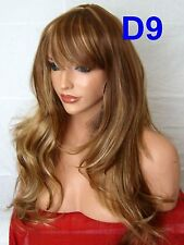 Long Wavy Light Brown Blonde Ladies women real natural costume Adult full Wig D9