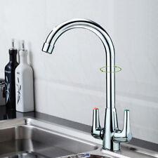 Modern Chrome Kitchen Mono Sink Basin Tap Designer Mixer Twin Lever Swivel