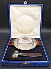 Puiforcat-argent massif bol et cuillère à bouillie art deco macassar orfèvrerie