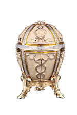 Decorative Faberge Egg / Trinket Jewel Box with Arrows 2.4'' (6 cm) cream