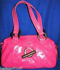 NEW-RED BY MARC ECKO PINK FUCHSIA PLEATED PLEASURE GLAZED SATCHEL,HAND BAG