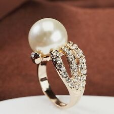 18K Rose Gold Plated Made With Swarovski Simulated Pearl Fancy Split Band Ring