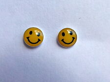 Pair Of Sterling Silver  925  Smiley  Face  ( 5 mm )  Ear Studs  !!     New  !!