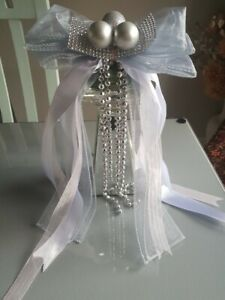 Grey Pink White Silver Christmas Tree Topper Bow Large Handmade Luxury Bows