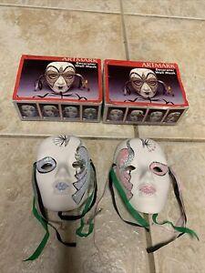 (2) Vintage Artmark Decorator Face Wall Mask Fine Ceramic