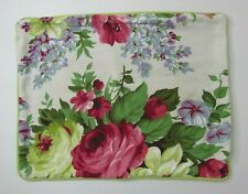 Decorative Throw Pillow Cover Floral Roses Pink Green Blue Cream 15x19 Shabby