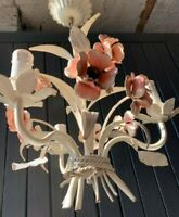 GREAT FRENCH 1930'S TOLEWARE CHANDELIER 3 ARMS METAL PAINTED FLOWERS