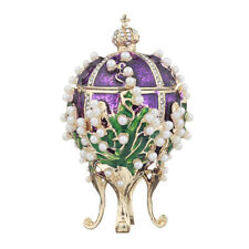 Faberge Egg / Trinket Jewel Box Russian Emperor's Crown & Flowers 2.4'' purple