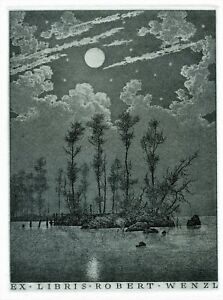 Konstantin Kalinovich, Original Art Print  Etching Ex libris,  Night Moon
