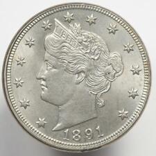 1891 Liberty V Nickel GEM BU Frosty PQ+ Coin  MM008