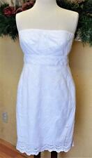 J Crew Size 8 Strapless Dress White Eyelet Lined Scallopes Zipper Casual