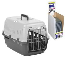Grey Plastic Pet Carrier Basket Puppy Small Dog Cat Kitten Rabbit Travel Cage