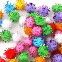 100pcs Sparkly Glitter Tinsel Pompom Balls Small Pom Pom Ball Cat Toys 0.59 inch