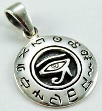 EGYPTIAN EYE OF HORUS 925 STERLING SILVER PENDANT WITH LEATHER NECKLACE & BOXED