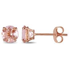 Amour 14k Rose Gold Morganite Stud Earrings