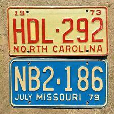 Lot of 2 vintage license plate plates- 1973 North Carolina and 1979 Missouri