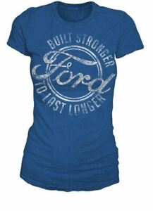 "Ford ""Bling"" Ladies T-Shirt - Very Cute Design with Rhinestones - Fitted Blue T"