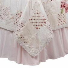 "NEW Simply Shabby Chic Pink Cotton Ruffled Bedskirt QUEEN 15"" Drop NEW"