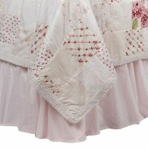 """NEW Simply Shabby Chic Pink Cotton Ruffled Bedskirt KING 15"""" Drop NEW"""