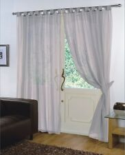 Pair of Silver  59'' x 90''  Voile Net Tab Top Curtain Panel + Tie Back