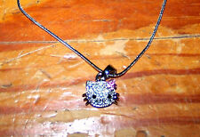Girls SANRIO Beautiful Silver Placed Clear Pink Gem HELLO KITTY Pendant Necklace