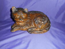 LARGE VINTAGE CHALKWARE CARNIVAL PRIZE RECLINING SLEEPING BROWN CAT FIGURE