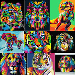 Animals Oil Painting Paint By Numbers Kit Canvas Acrylic Adult Kids DIY UK