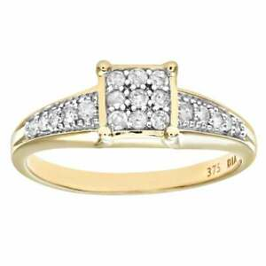 Naava 9ct Yellow Gold Diamond Set Shoulders and Square Design Ring