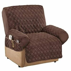 Collections Etc Diamond-Shape Quilted Stretch Recliner Cover with Storage Pocket