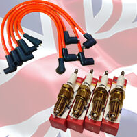 Morris Minor  Red Performance 8mm HT leads + 4 X 3 Ground AC9C Sparkplugs