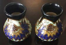 "Pair of Arnhem Gouda Miniature 3""  Vase - Matte Black, Orange, Cobalt, & Yellow"