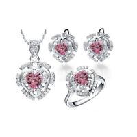 925 Sterling Silver Pink CZ Ring Earrings Necklace Girls/Women Jewellry set