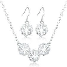 925 sterling Silver Plated Fashion wedding Women charms earring necklace set